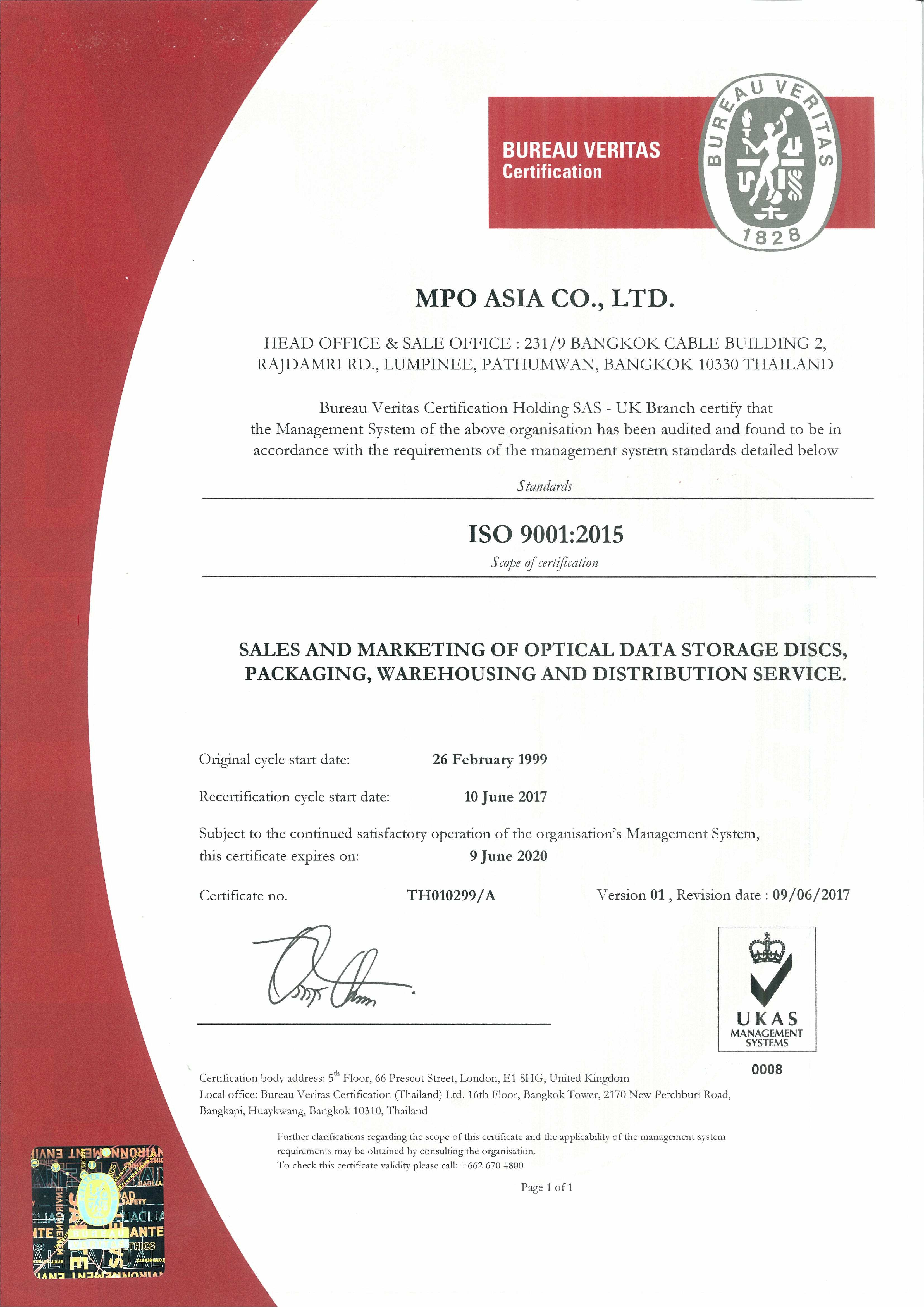 ISO 9001:2015 Certificate for MPO Asia Head office